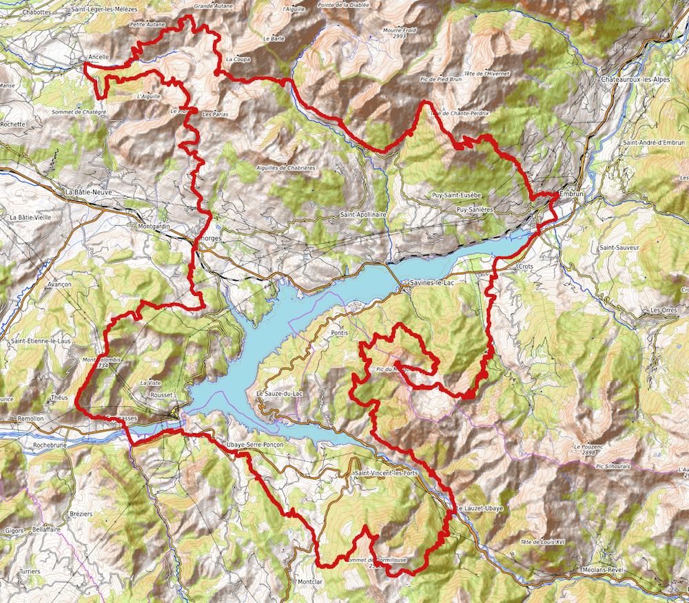 Le parcours autour du lac de Serre-Ponçon
